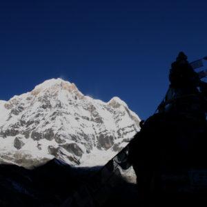 Nepal, trekking del Santuario dell'Annapurna. Dal Campo Base vista sull'Annapurna