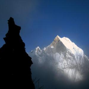Nepal, trekking del Santuario dell'Annapurna. Vista sul Macchapucchare, la montagna Sacra