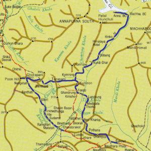 Nepal, trekking del Santuario dell'Annapurna. Cartina del percorso