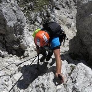 Primo tratto della ferrata Pipan al Montasio