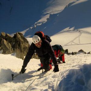 Raggiunto il Col Maudit lungo la salita Des Trois Cols al Monte Bianco