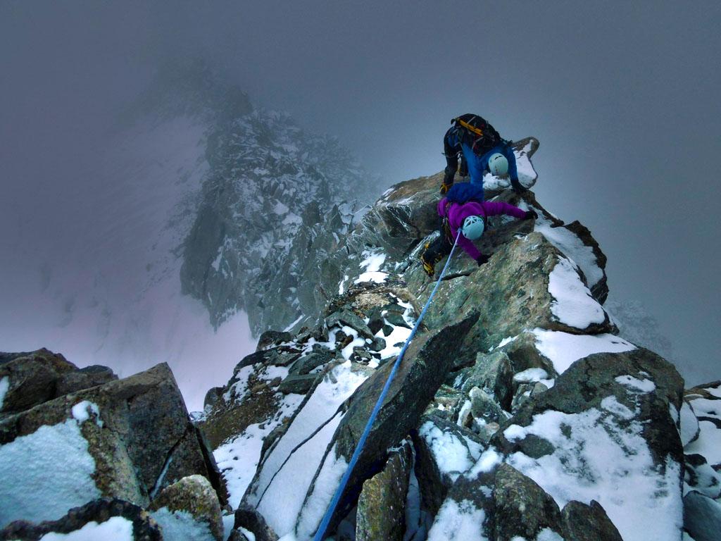 La traversata dell'Aiguille Marbrèe è una classica di impegno medio nei pressi del Rifugio Torino nel gruppo del Monte Bianco