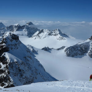 Scialpinismo, l'ultimo tratto verso la vetta del Piz Buin in Silvretta