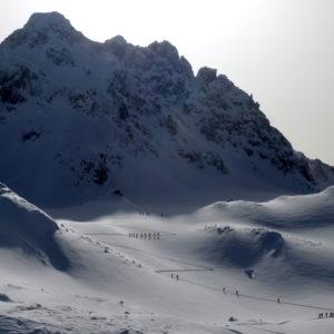 Sci alpinismo, seguendo l'ordinata traccia a zig zag