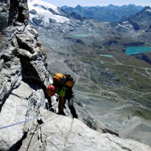 Cervino, sulla Cresta del Leone nei pressi della Cheminé
