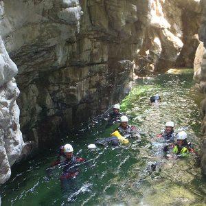 Canyoning nelle Alpi Carniche lungo il rio Lumiei in Carnia