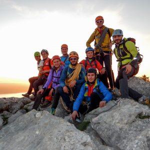 Finalmente tutti in cima sull'Anica Kuk a Paklenica in Croazia