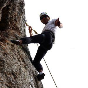 Finalmente in catena dopo un tiro difficile in arrampicata sprotiva