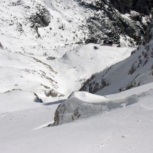 Il pendio iniziale della Creta di Collina nelle Alpi Carniche