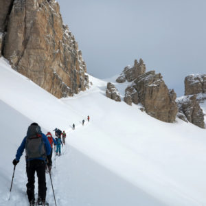 Salendo verso Forcella Granda in Dolomiti