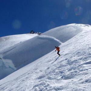 Tratti più ripidi lungo la discesa del Monte Bianco