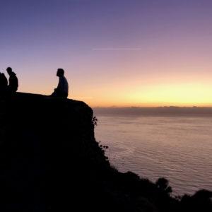 L'osservatorio di Stromboli al tramonto