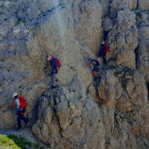 Esili cengie ben attrezzate lungo la Ferrata dei Cinquanta nelle Alpi Carniche