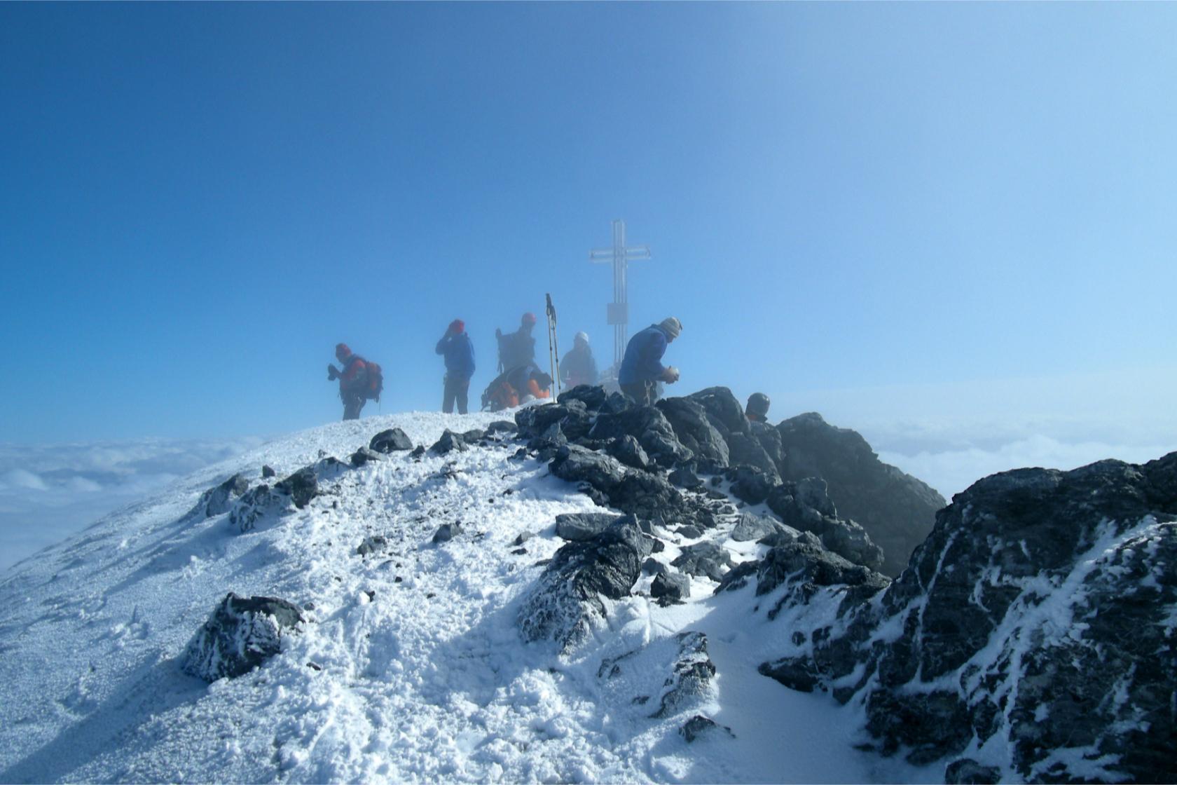 Gli ultimi metri della cresta Hintergrat per raggiungere la vetta dell'Ortles