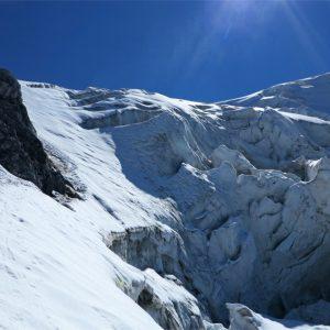 Il ghiacciaio che scende dall'Ortles